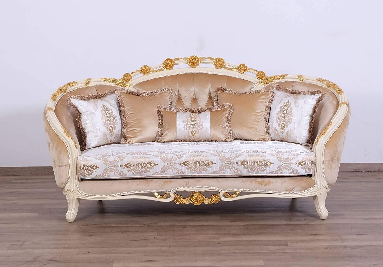 European Furniture Valentine II Wood Trim Loveseat