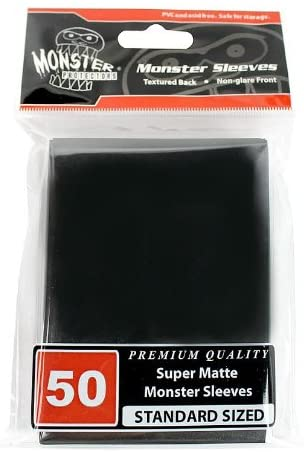 Monster Protectors Sleeves Sleeves - Standard Size Super Matte - Black (Fits MTG Magic The Gathering and Other Standard Sized Gaming Cards)