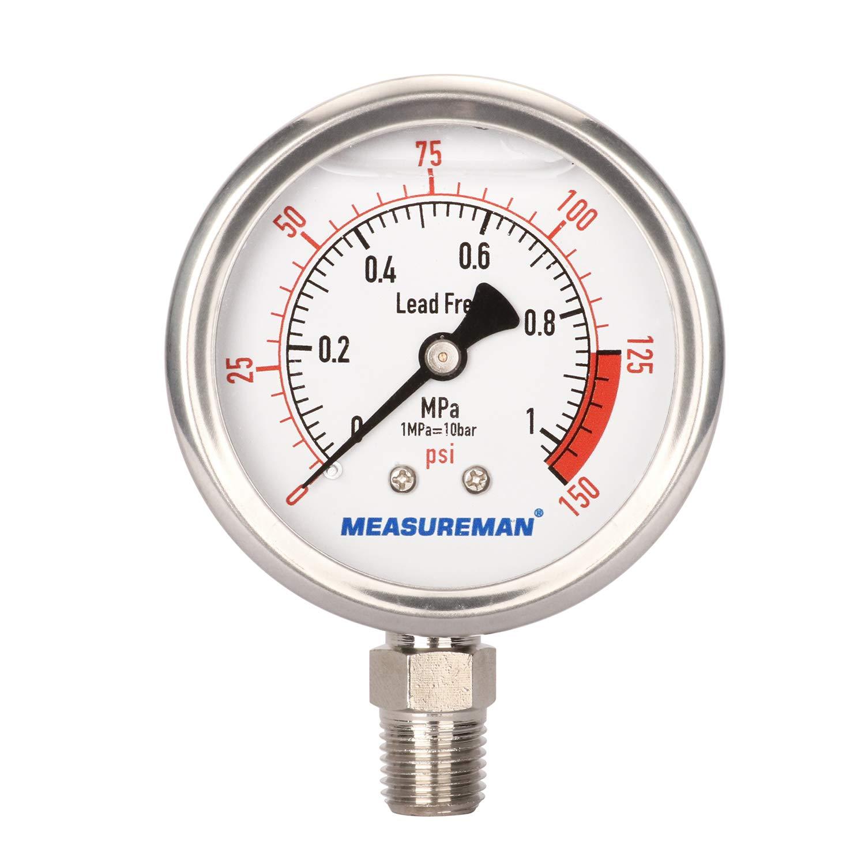 MEASUREMAN Lead Free Glycerin Filled Reverse Osmosis Pressure Gauge, 2-1/2