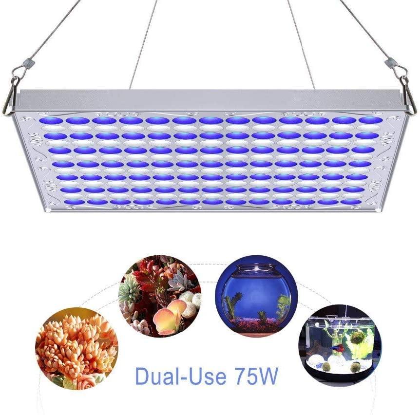 ZWD Plant Lamp LED Aquariums 75W Grow Light Blue White 91:78 for Plant Germination Aquarium Fish Tank