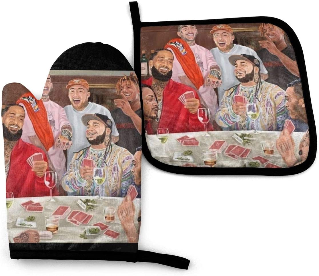 Top Rappers Party XXX-Nipsey-Miller Oven Glove and Pot Holder Set for Grill Cooking (2-Piece Sets)