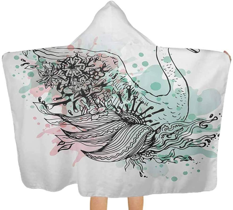 Hooded Baby Towel Hand Sketch Swan Bird Floral Details and Color Splashes Watercolors Premium Toddler Towel with Hood for Babie, Toddler, Infant Mint Green Pale Pink Black 51.5x31.8 Inch