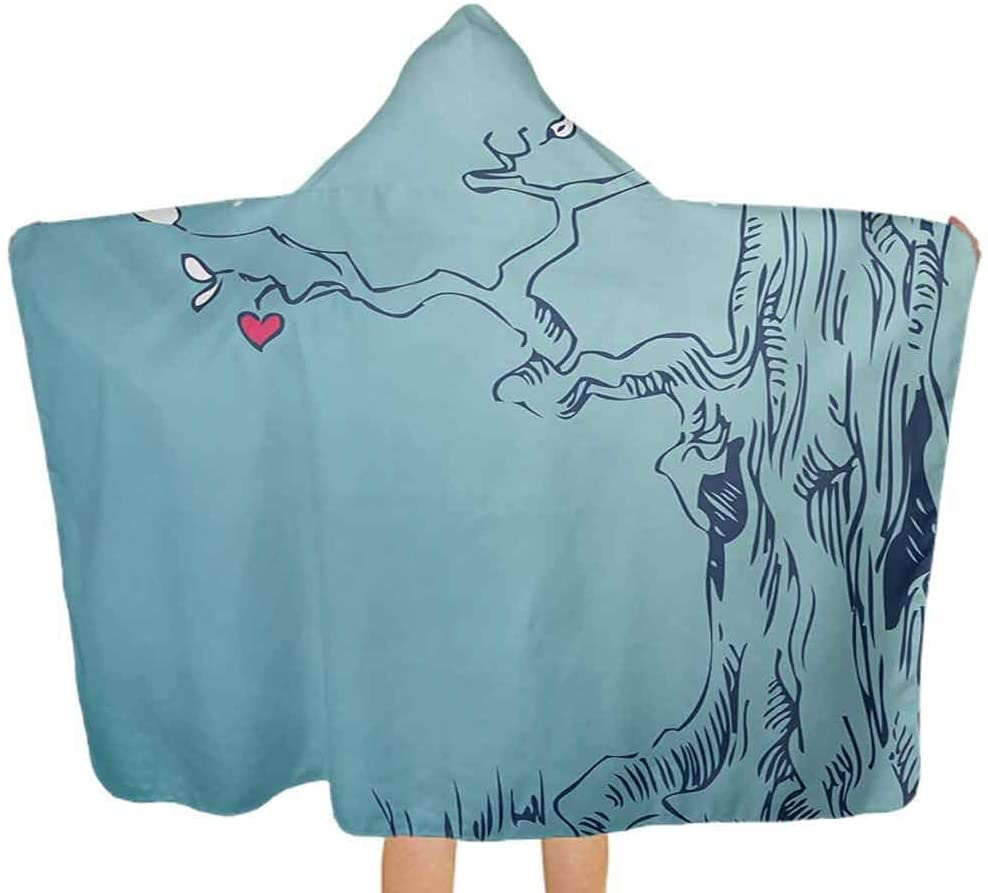 Baby Bath Towel Hand Drawn Tree with Hearts and Leaves Branches Sketch Style Mother Earth Art Print Toddler/Kids Bath Towels with Hood for Newborns, Infants and Toddlers Turquoise 51.5x31.8 Inch