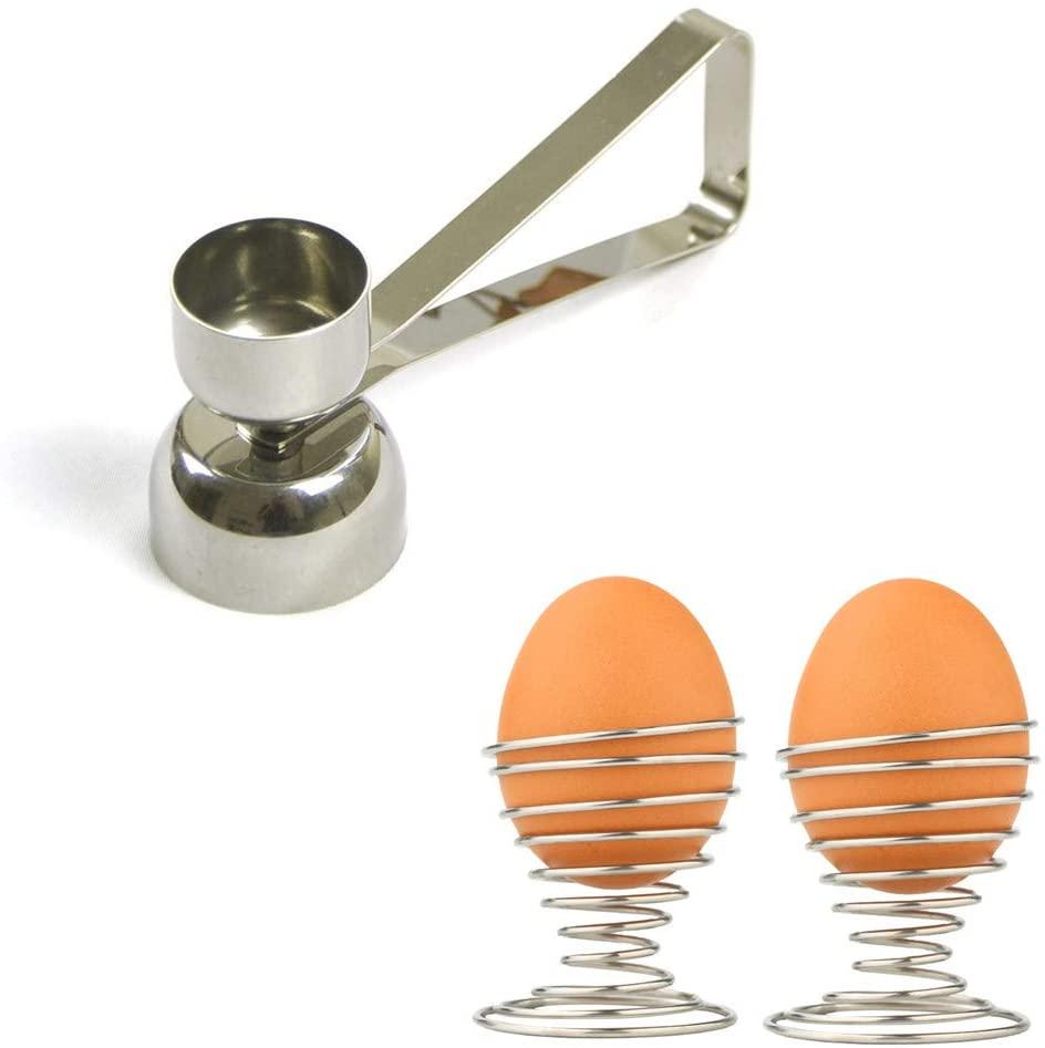 Egg Cracker Topper with 2 pcs Spring Egg Cup Holders, Stainless Steel Double Cups Egg Topper Shell Remover Egg Cutter Egg Whacker Egg Hammer Touch Egg Opener Egg Separator for Raw/Soft/Hard Boiled Egg