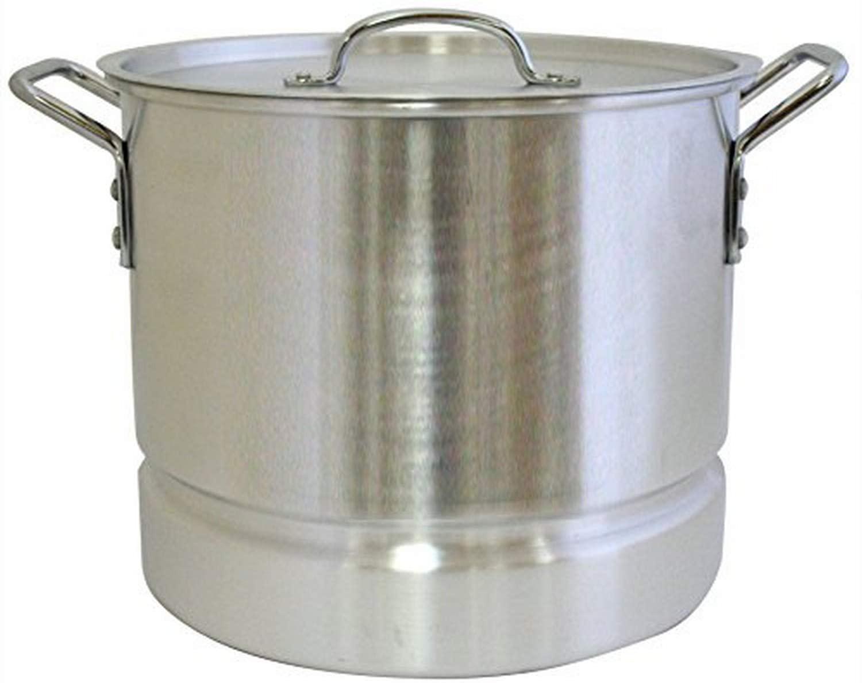 Aramco Alpine Gourmet Aluminum Stock Pot with Lid Steamer, 16 quart, Silver