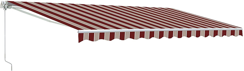 ALEKO AW13X10MSTRRE19 Retractable Patio Awning 13 x 10 Feet Multi-Stripe Red