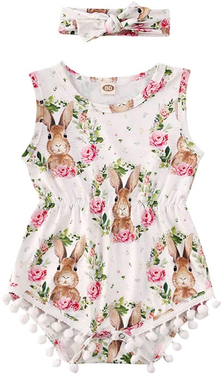Lamuusaa Newborn Baby Girls Easter Outfits Sleeveless Bunny Romper Bodysuit Tassels Jumpsuit Sunsuit Summer Outfits 0-24M