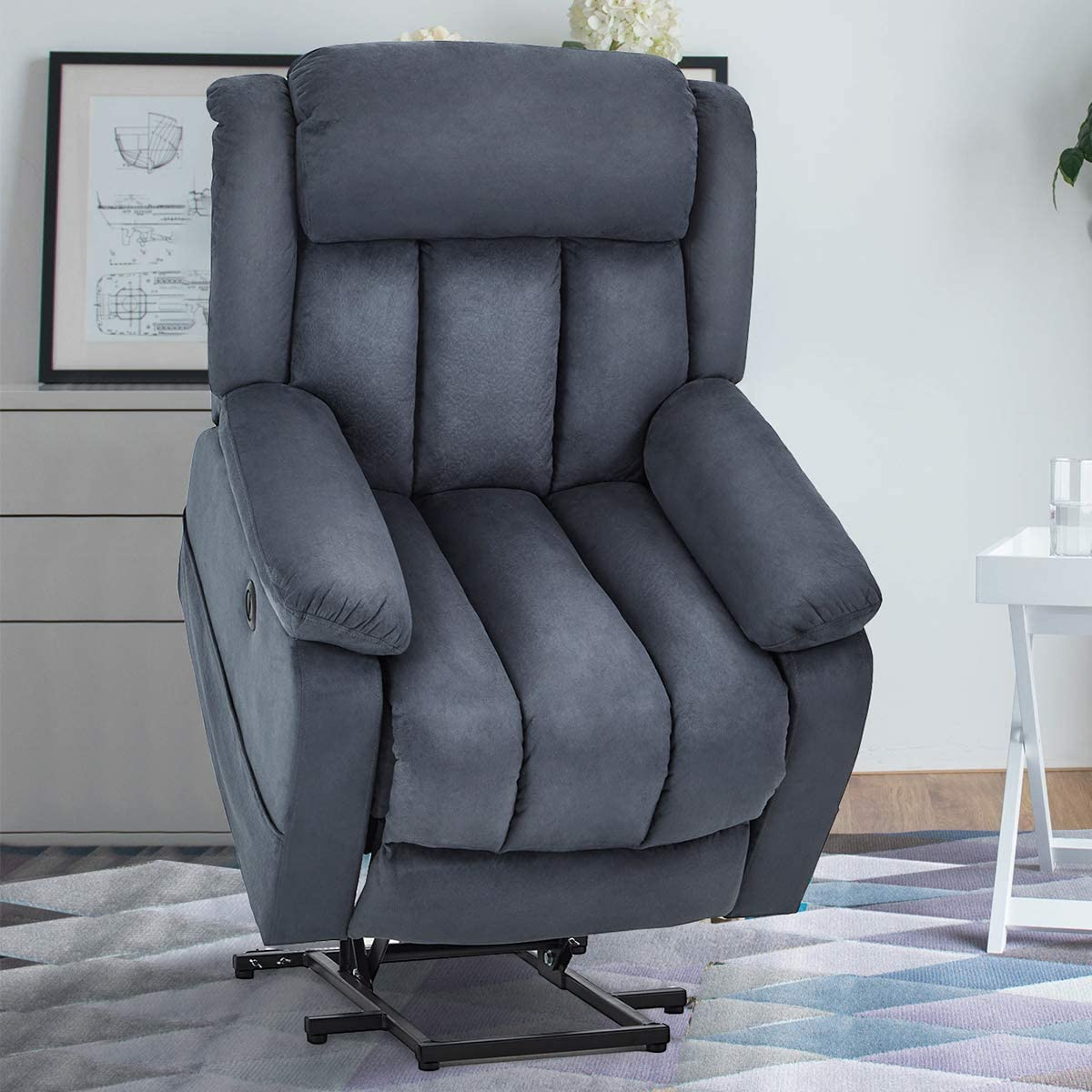 Esright Power Lift Chair Electric Recliner Sofa for Elderly, Microfiber Electric Recliner Chair with Heated Vibration Massage, Side Pocket and USB Port, Blue Gray