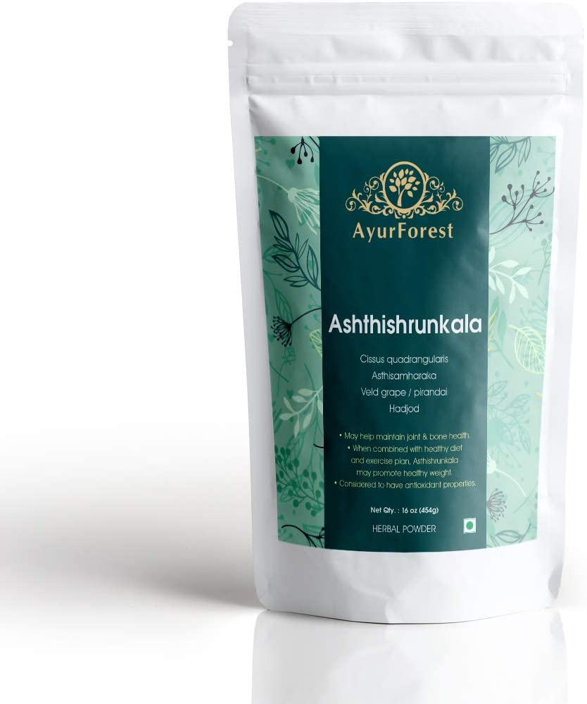 AyurForest Asthishrunkala Powder | Cissus Quadrangularis | Veldt Grape | Devil's Backbone | Adamant Creeper | Hadjod | Pirandai 16 oz 454 GMS, All Natural Non-GMO for Bone Health