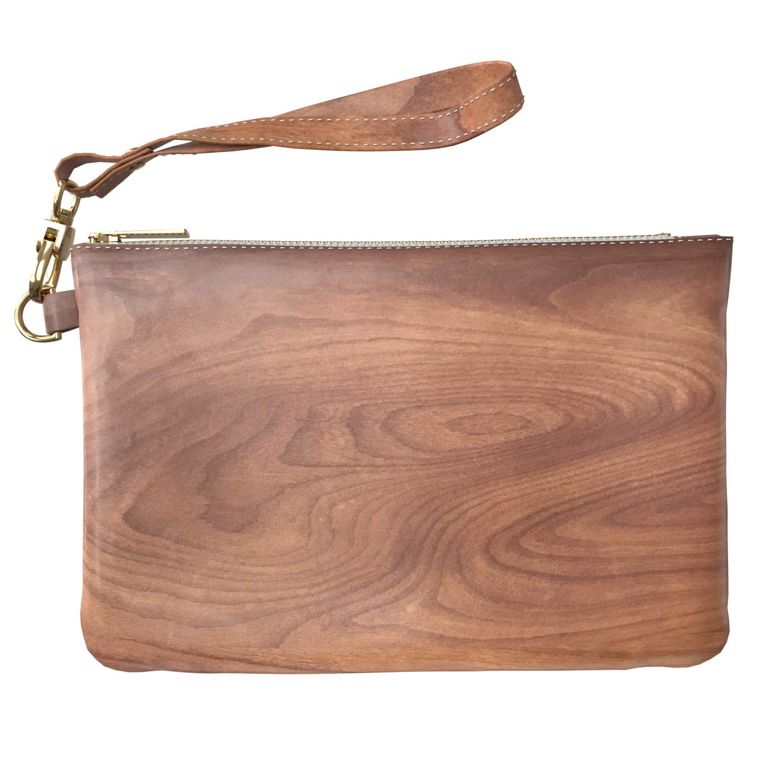 Cavka Makeup Bag 9.5 x 6 inch Texture Walnut Look Portable Organizer Design Print PU Leather Toiletry Zipper Travel Case Especial New Cosmetic Wood Strap Accessories Purse Pouch Luxury Storage Solid