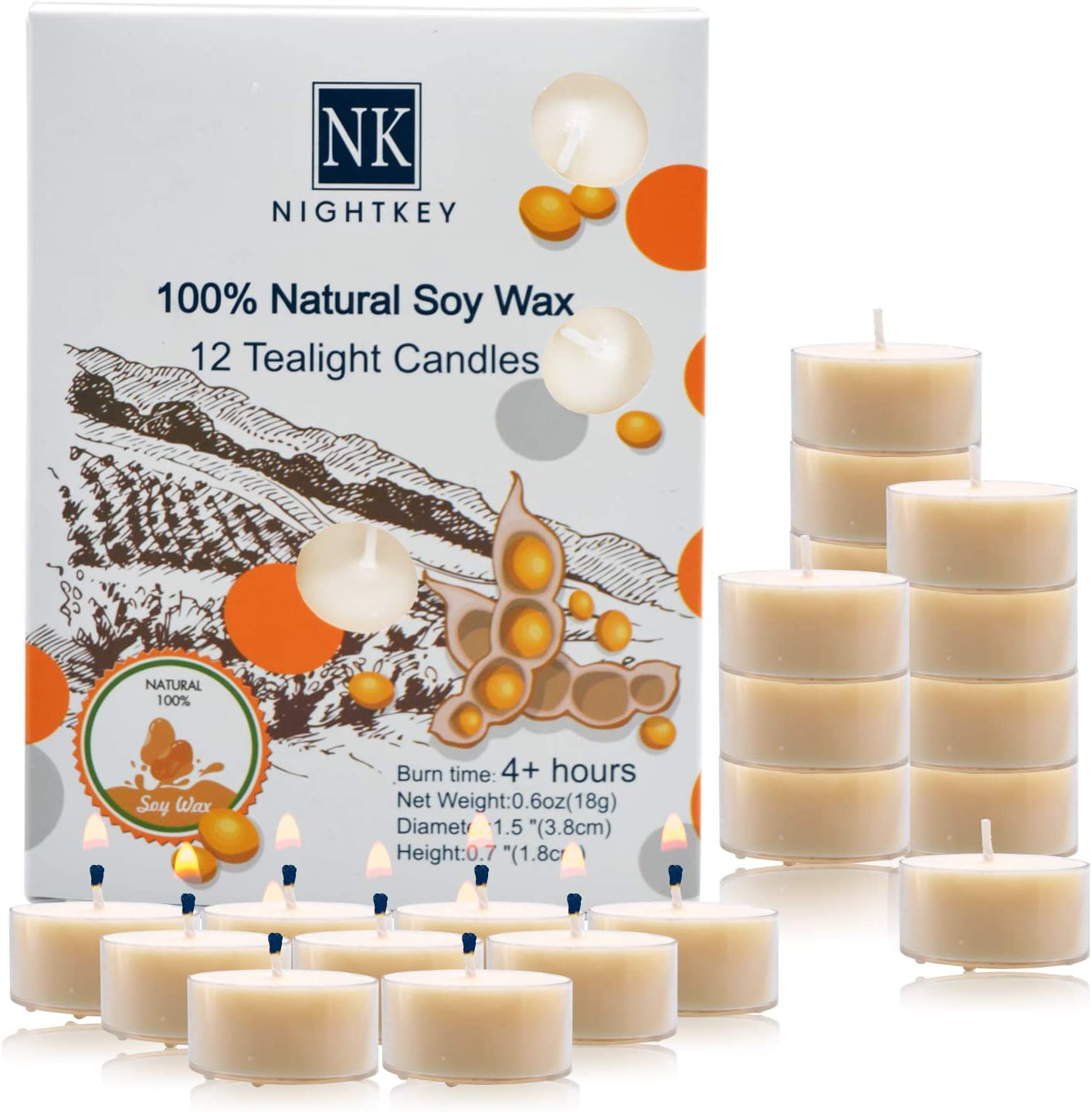 NIGHTKEY Pure Soy Wax Handmade Clear Cup Unscented Tealight Candles | Natural Smell and Color | Up to 4 Hours Burntime | Set of 12