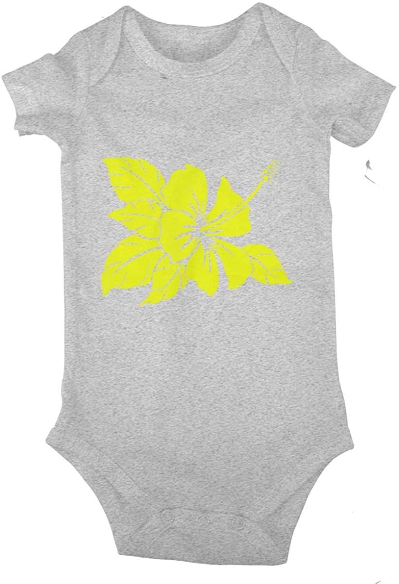 LzVong Hawaiian Hibiscus Flower Cotton Baby Short Sleeve Bodysuits Jersey Rompers