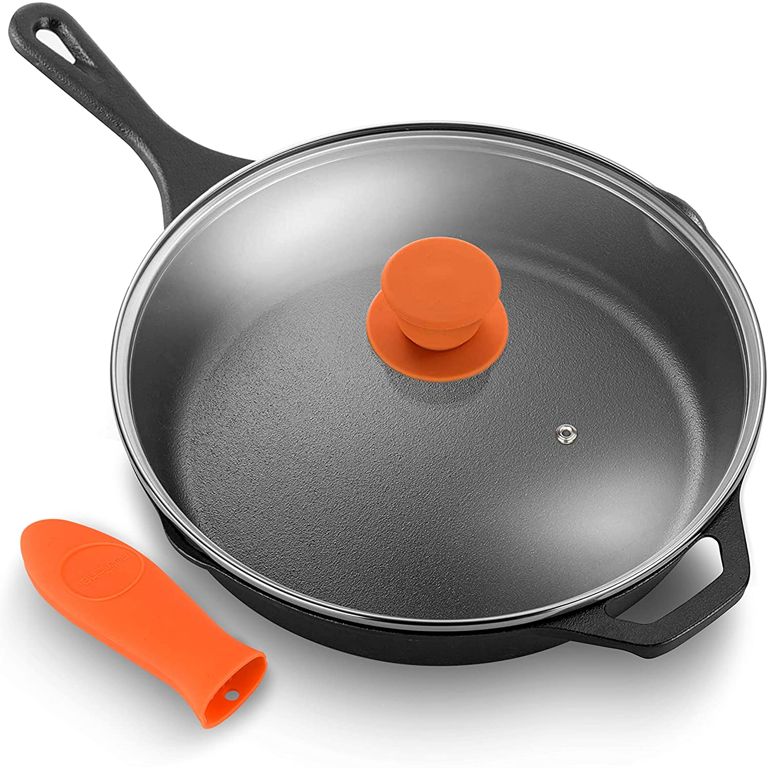 NutriChef Pre-Seasoned Cast Iron Fry Pan with Glass Lid & Silicone Handle, 10 inch, Black