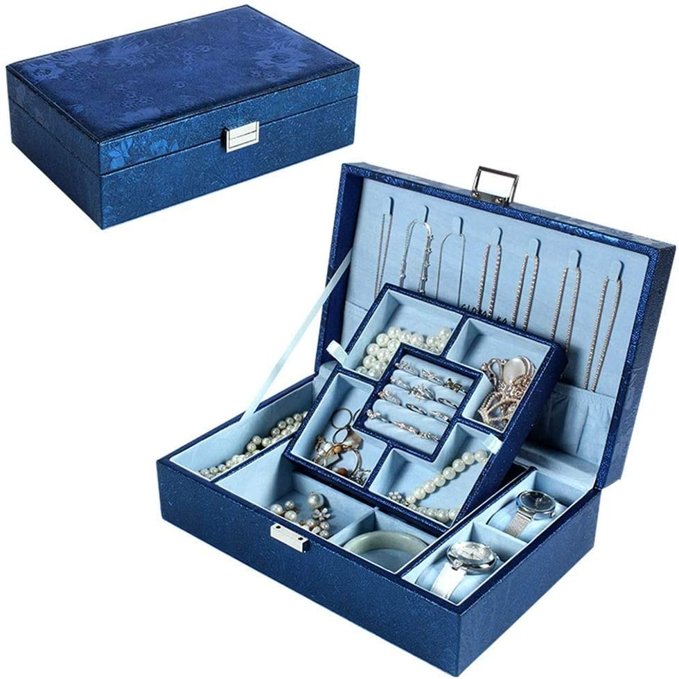 Jewelry Box PVC Storage Storage Box Compact Cosmetic Case with Lock for Girls (Size : 29.5 19.8 9cm) (Color : B)