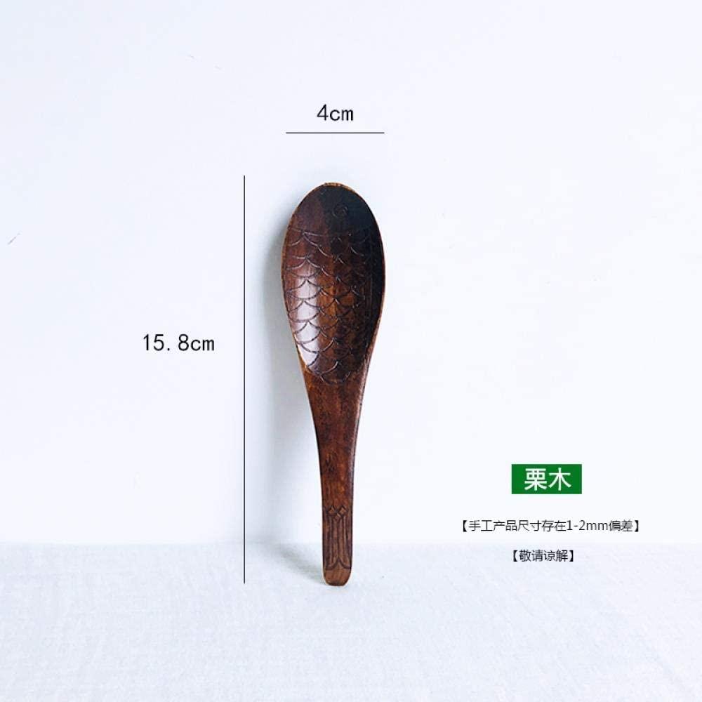 Wooden tableware, long handle stirring spoon, solid wood large spoon, wooden spoon, coffee spoon, rose red, spoon 38