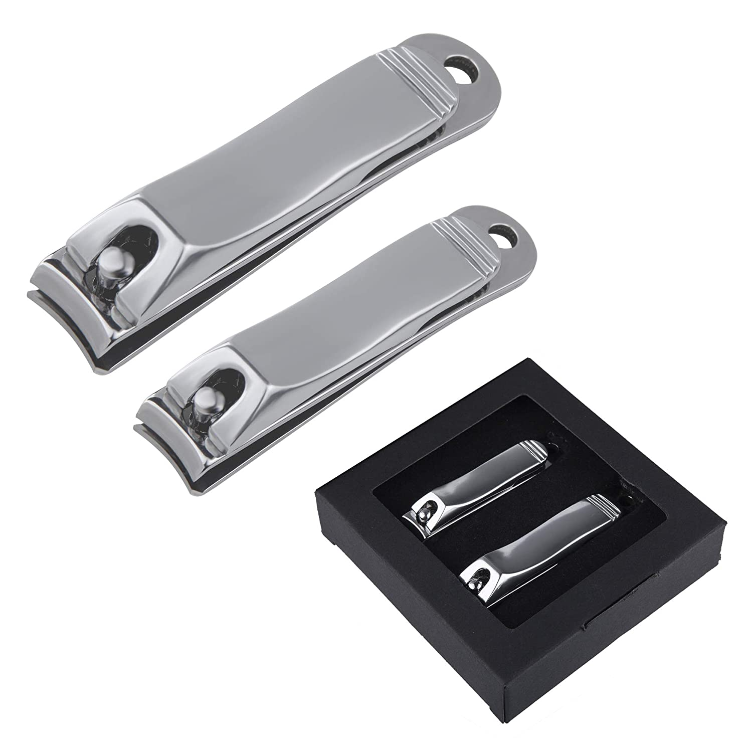 Nail Clipper Set Fingernail and Toenail Clipper,Nail Cutter Stainless Steel for Men & Women(2 Pack)