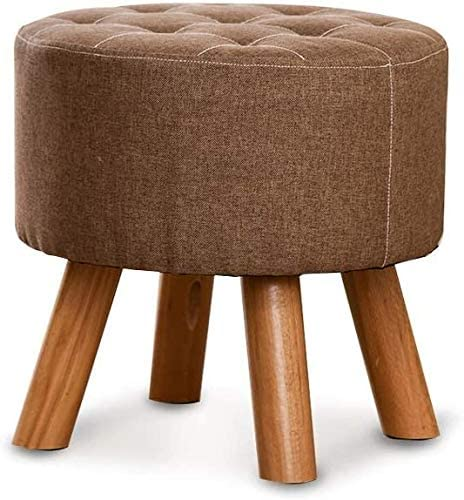 HOMRanger Storage Stool Footstool Wooden Wood Support Upholstered Pouffe Chair Stool 4 Legs Couch Home Footstool (Color : Light Brown)