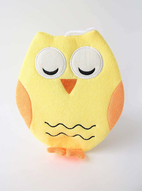 Ollie The Owl Wash Cloth - Animal Shape Cotton Mitt - Zoo Glove - Puppet - Wash Cloth - Children Bath Brush - Bath Glove (Yellow Owl Bath Cloth)