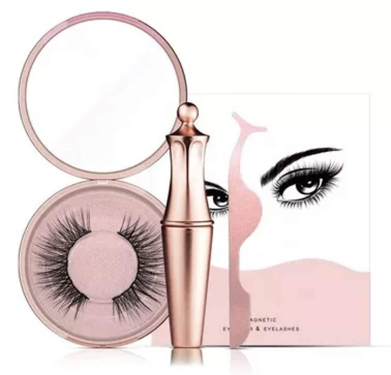 Magnetic Eyelashes Upgraded Gift Set, Magnetic Eyeliner And Lashes with Tweezers & Pocket Mirror, Magnetic Eyeliners With Advanced 3D Magnetic Eyelash, Magnetic lashliner, And Applicator