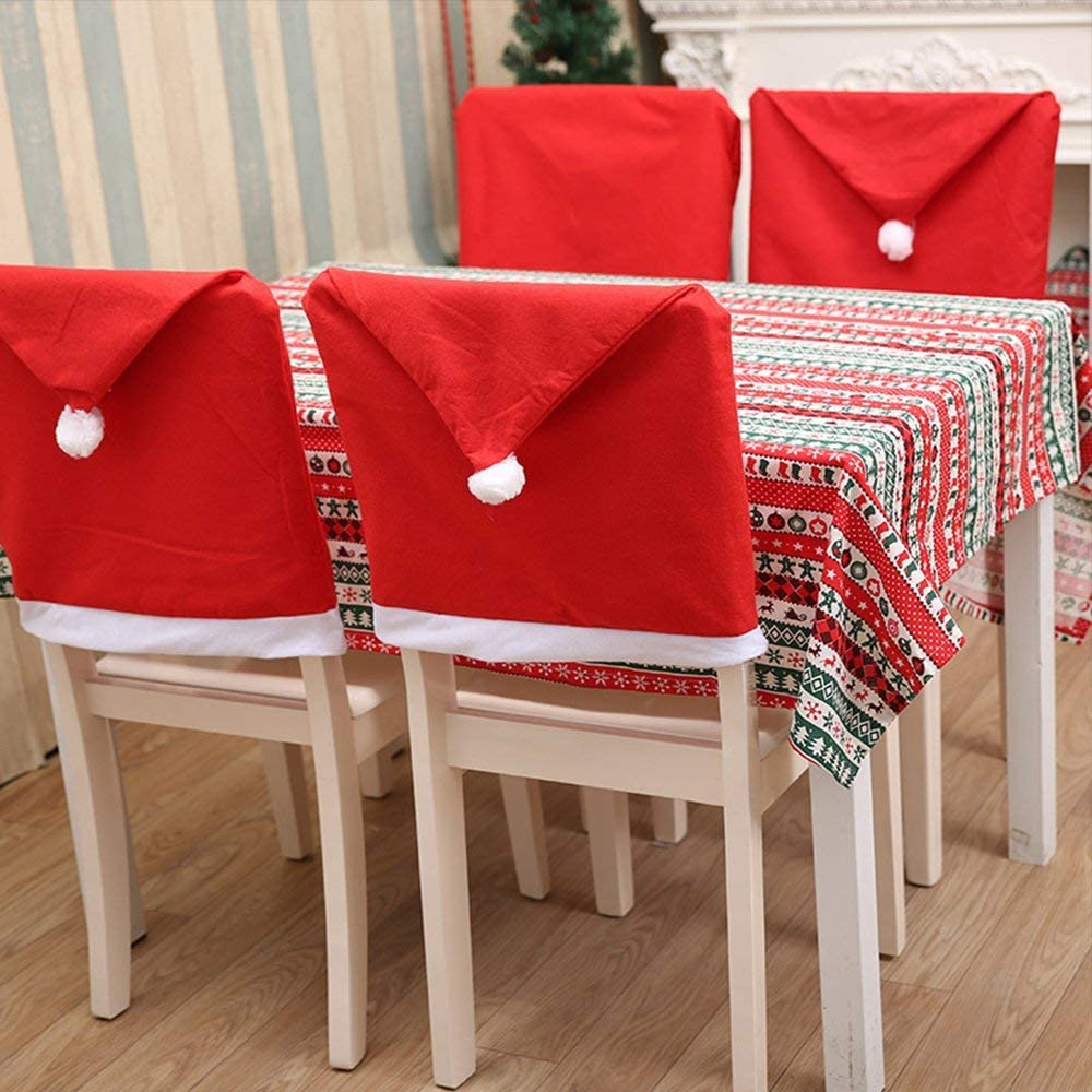 MOSTOP Santa Hat Chair Covers Santa Clause Chair Back Covers Christmas Chair Slip Covers Set for Christmas Holiday Festive Decor Set of 4 (Red x4Pcs)