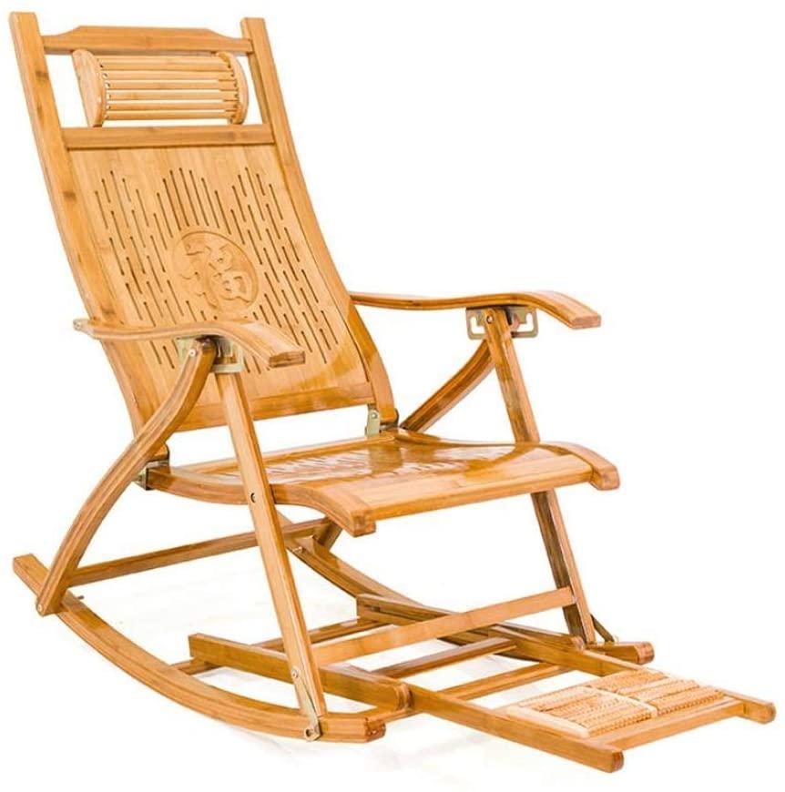 FCSFSF Sun Lounger, Heavy Duty Zero Gravity Chairs Bamboo Garden Outdoor Patio Sun Lounger Chair