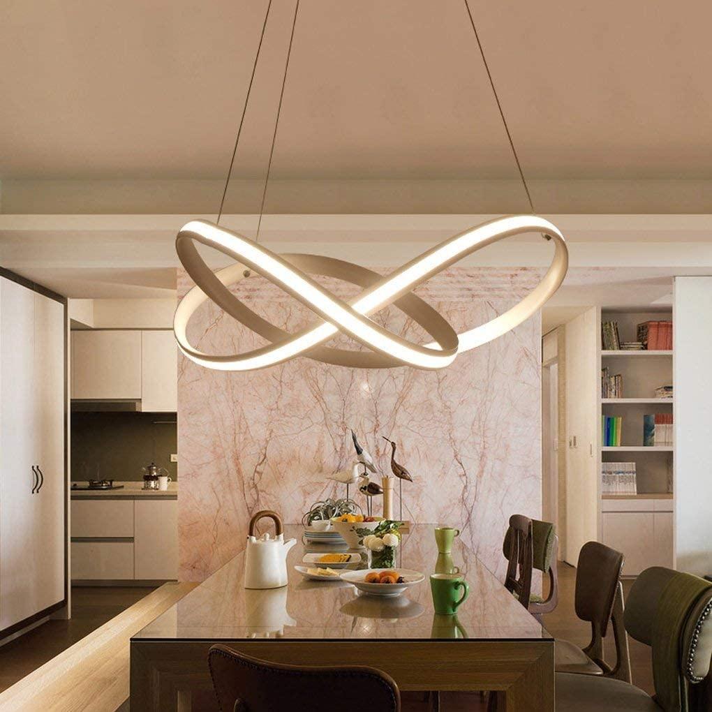 BOSSLV Dimming Minimalism Chandelier Modern White Iron Aluminum Pendent Lamp Creative Parlor Dining Hall Bedchamber Study Hanging Lamp Elegant Led Decorative Ceiling Lighting 50CmH16Cm