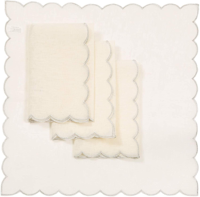 Xia Home Fashions Sleek Chic Sheer Napkin, 20''x20'', Silver