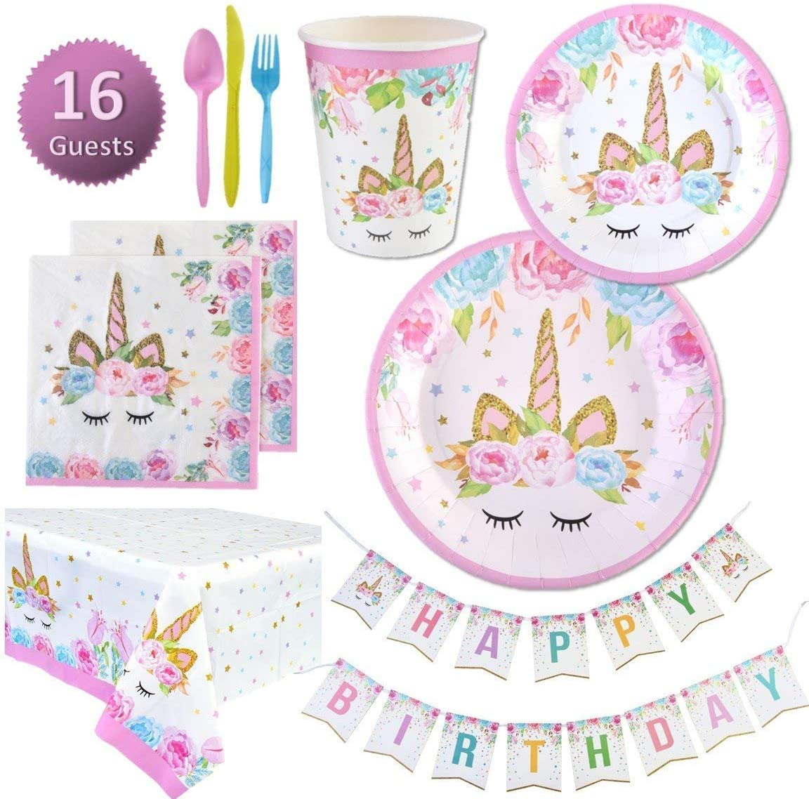 Unicorn Party Supplies Set | Unicorn Decorations and Tableware | Disposable and No Washing Up | Serves 16 – 114 Pieces by Party People