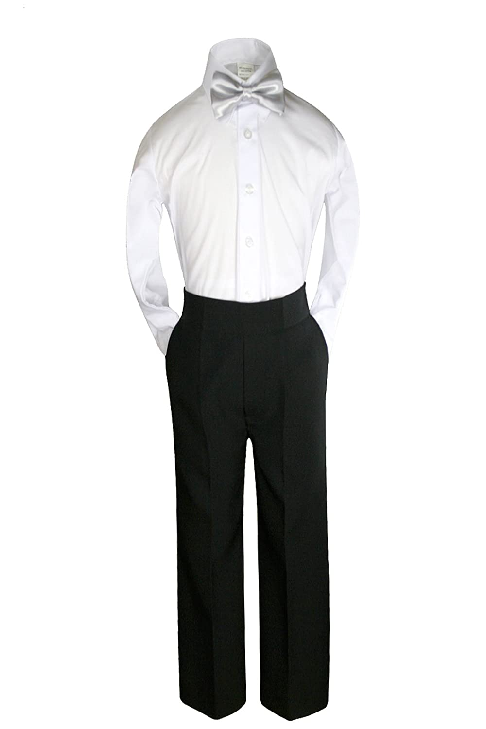 3pc Formal Baby Toddler Teens Boys Silver Bow Tie Pants Set Suits S-14 (S:(0-6 months))
