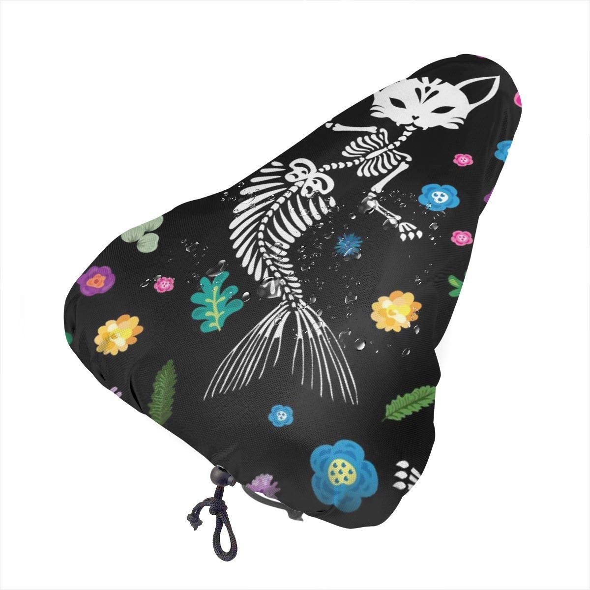 ZHOUSUN Waterproof Bike Seat Cover Watercolor Puppy with A Small Tabby Kitten Bicycle Saddle Rain Dust Covers with Drawstring,Comfort for Women,Men,Kids