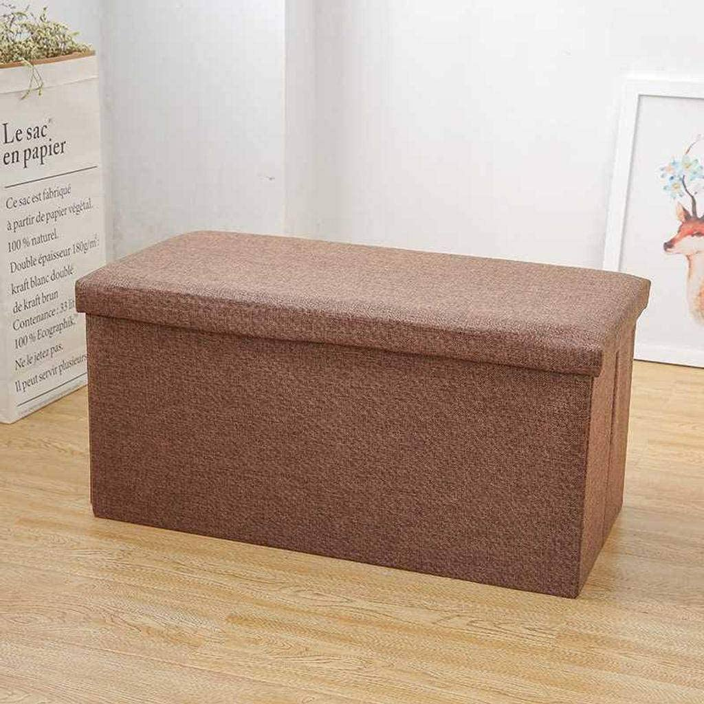 ZHI-HHA Rectangular Box Storage Stool,Solid Color Household Adult Cotton and Linen Folding Toy Box Chest Storage Ottoman Bench for Bedroom and Living Room-613636cm-C