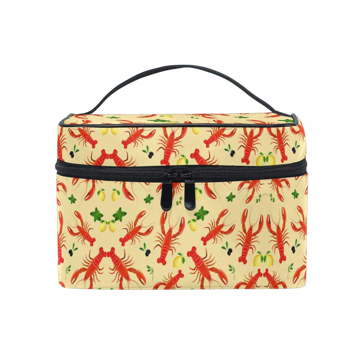 Sea Food Lobster Cosmetic Bag Organizer Zipper Makeup Bags Pouch Toiletry Case for Girl Women
