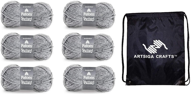 Patons Knitting Yarn Shetland Chunky Tweeds Pewter 6-Skein Factory Pack (Same Dye Lot) 241067-67044 Bundle with 1 Artsiga Crafts Project Bag