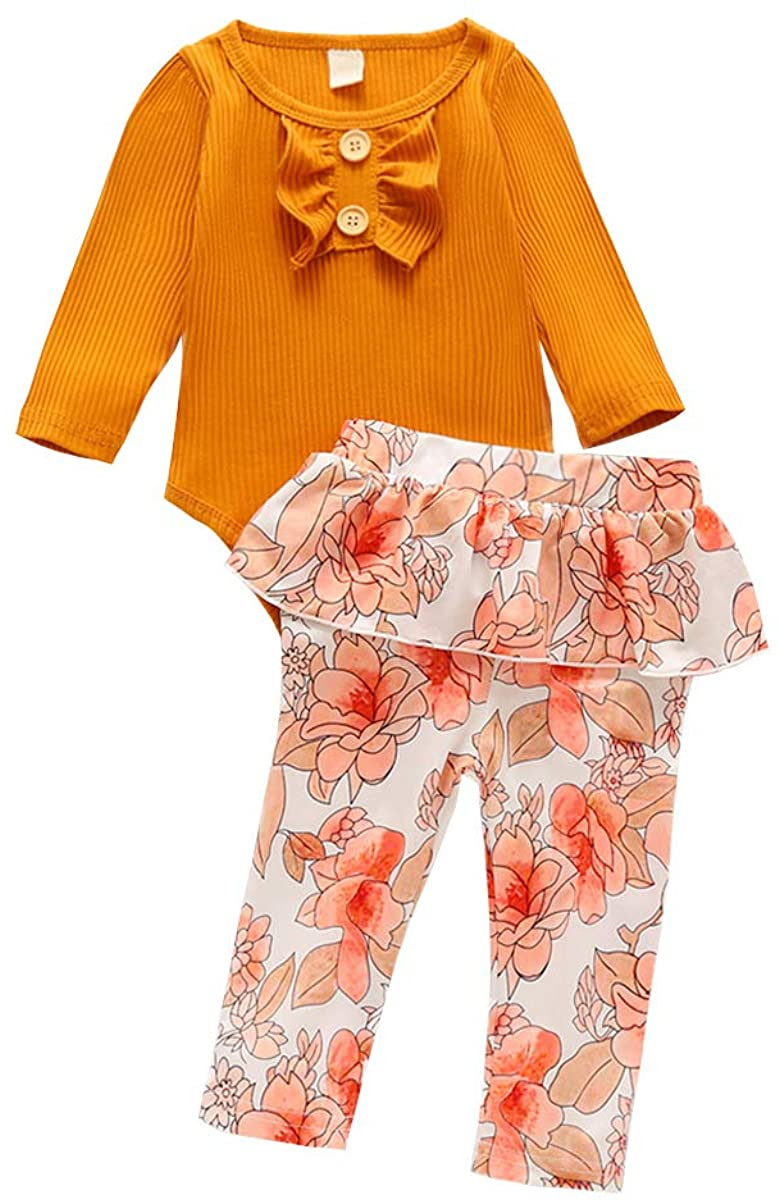Newborn Baby Girls Clothes Long Sleeve Bodysuit Romper Floral Ruffle Bloomers Knit Outfit