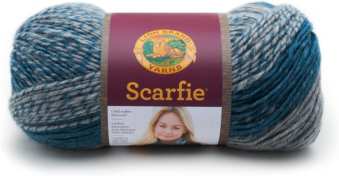 Lion Brand Yarn 826-218 Scarfie Yarn, Teal/Silver