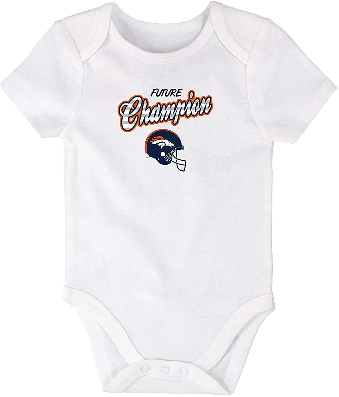 NFL Team Apparel Denver Broncos Infant One Piece Size 9 Months Bodysuit - White