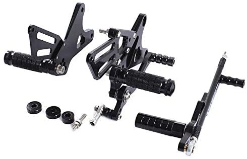 Frames & Fittings CNC Aluminum Motorcycle Adjustable Rearsets Rear Sets Foot Pegs for Yamaha YZF 1000 R1 YZF R1 2009 2010 11 2012 2013 2014 YZFR1 - (Color: Black)