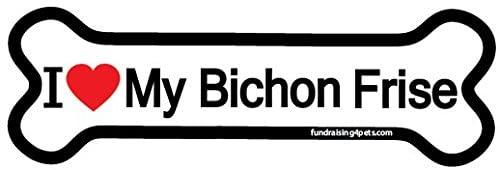 I Love My Bichon Frise bone magnet