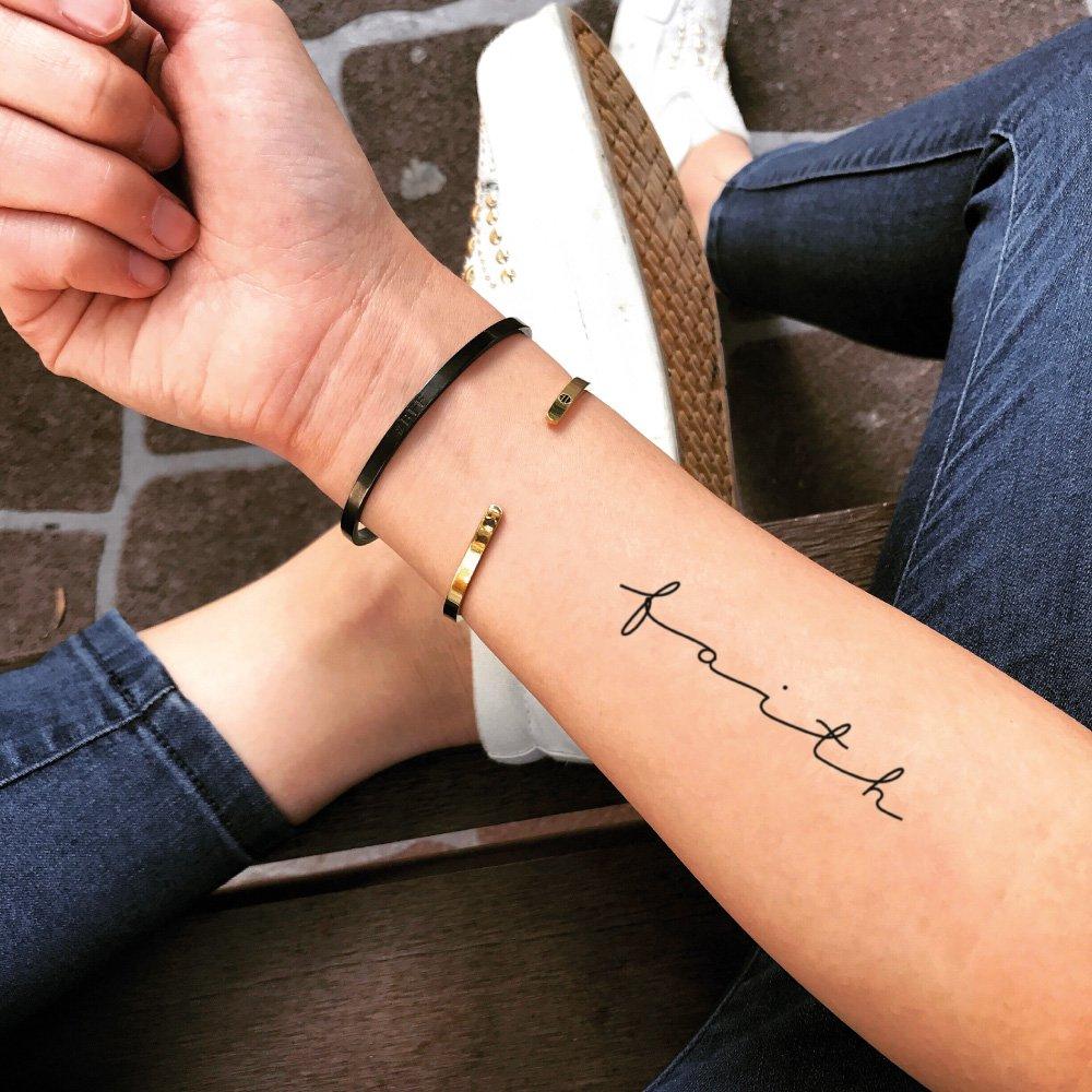 Faith Quote Temporary Fake Tattoo Sticker (Set of 2) - www.ohmytat.com