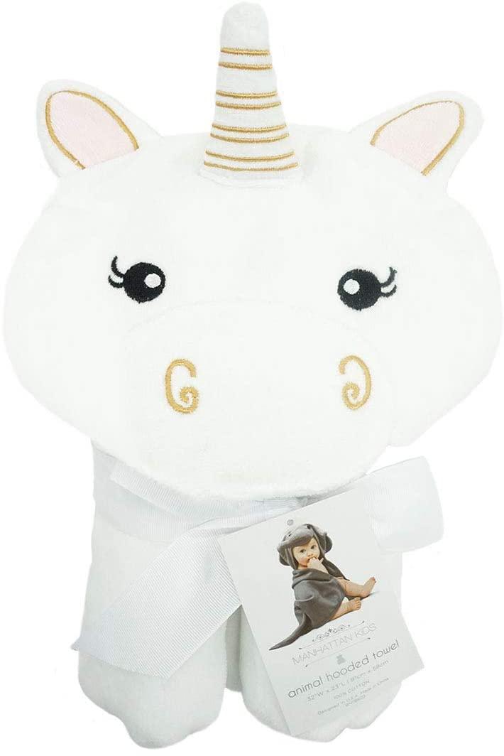 Manhattan Kids Baby Boy or Baby Girl Super Soft - White Unicorn Terry Cotton Hooded Towel.