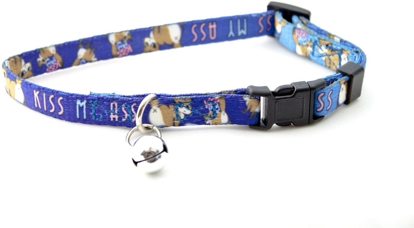 Spoonful of Cats Kiss My Ass Cat, Adjustable Snap Buckle Cat Collar with Bell