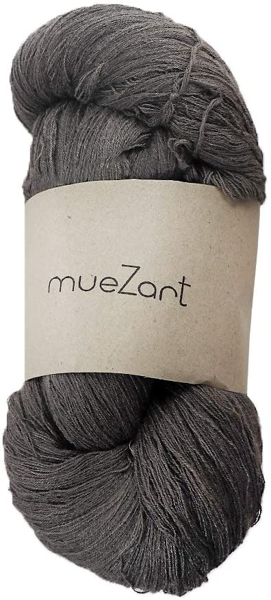 Muezart 100% Natural Eri Silk Yarn | 110g Skein 2300 Yards (Approx) | 60/2 Fine Lace | Weaving, Crocheting | Naturally Plant Dyed by Hand | Sterling Gray