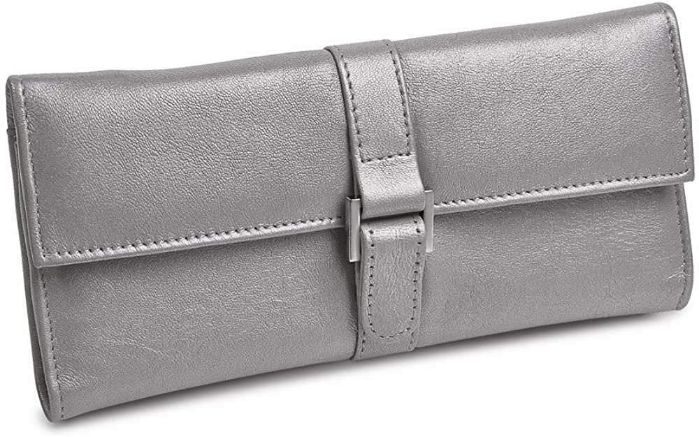 Silver Leather Snap Buckle Jewelry Wallet