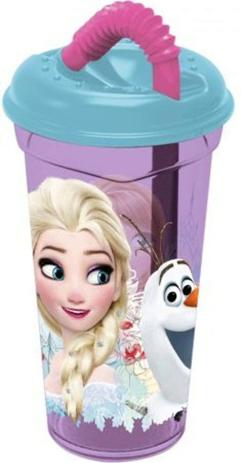 character Frozen Elsa Plastic Cup 400ml with Straw Purple