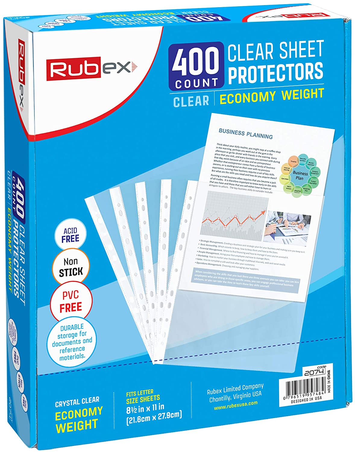 RUBEX Sheet Protectors 8.5 x 11 Inches - Clear Plastic Sheet Protector Sleeves for 3 Ring Binder, Top Loading Letter Size Page Protectors for Binders, Acid-Free Archival of Documents (400 Sheets)