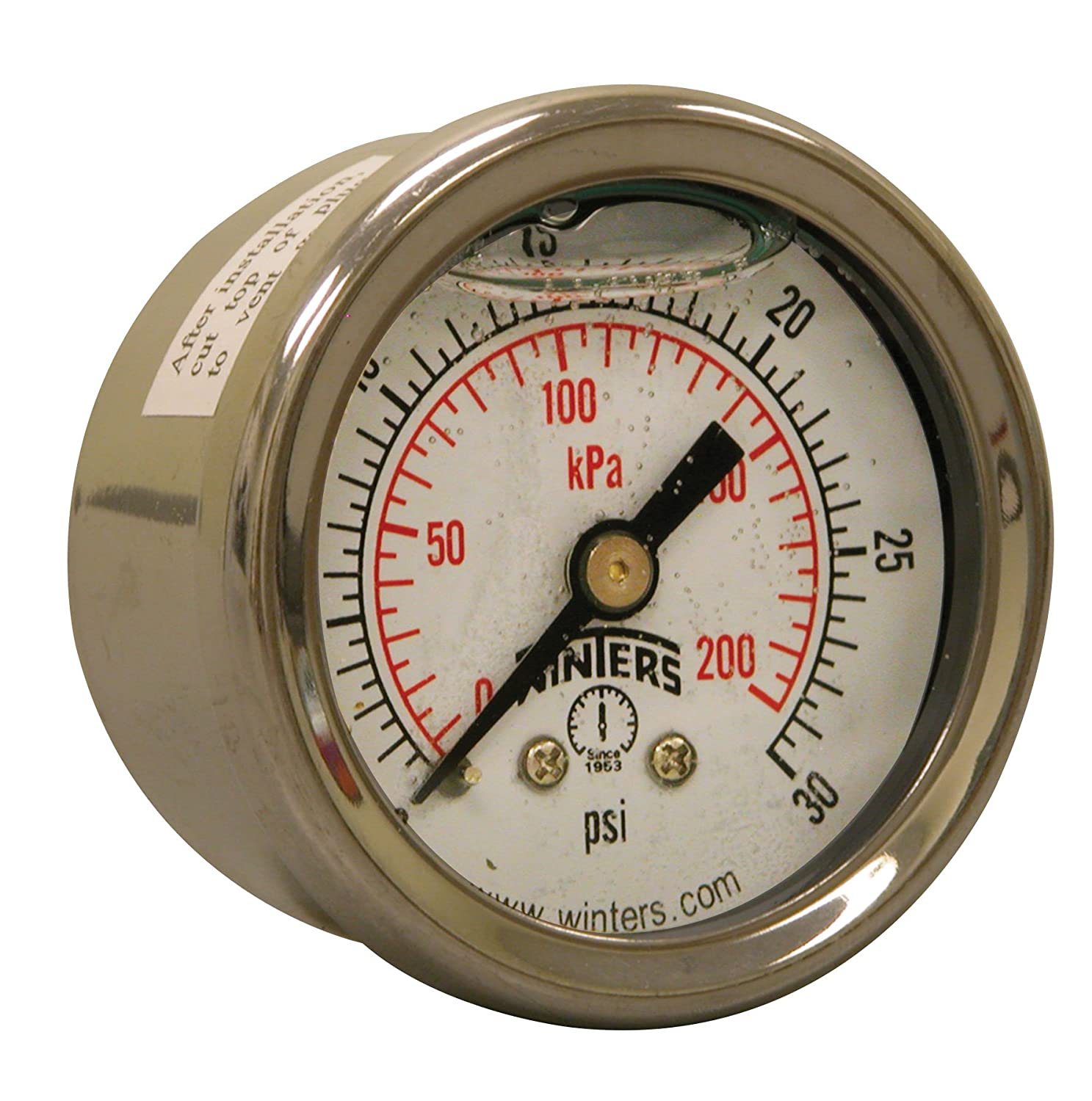 Winters PFQ Series Stainless Steel 304 Dual Scale Liquid Filled Pressure Gauge with st/st Internals, 0-30 psi/kpa, 2-1/2