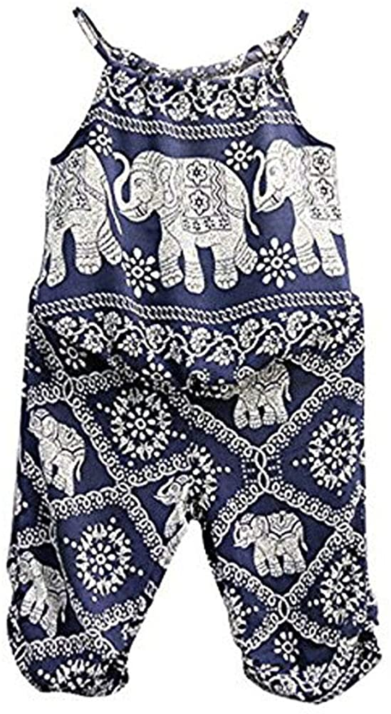 2Pcs/Set Kids Baby Girls Jumpsuit Romper, Elephant Straps Tops+Harem Pants Outfit