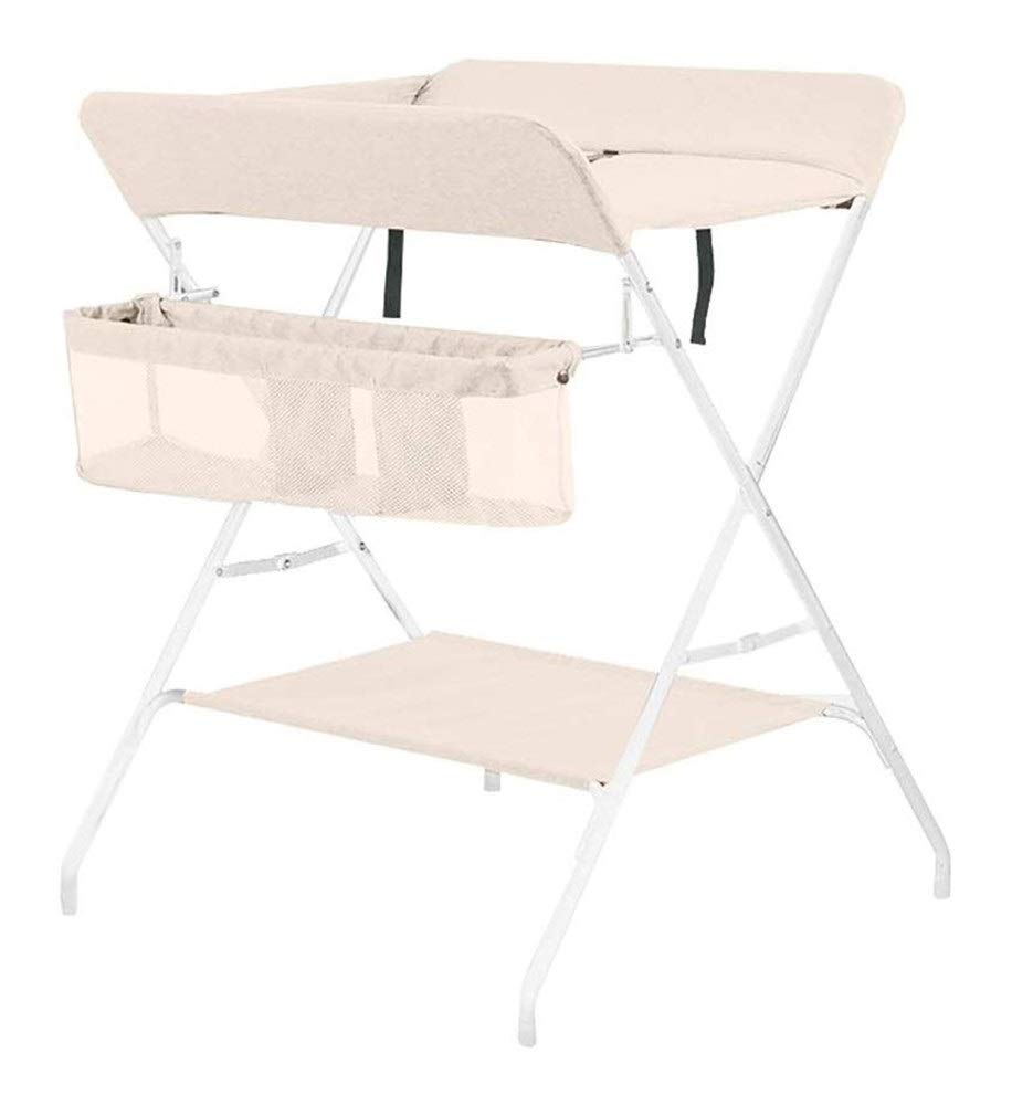 Changing table Baby's Diaper Changing Tables Unit Linen Nursery Baby Changing Stations with Safety Straps Cross Leg Style Furniture (Color : Beige2)
