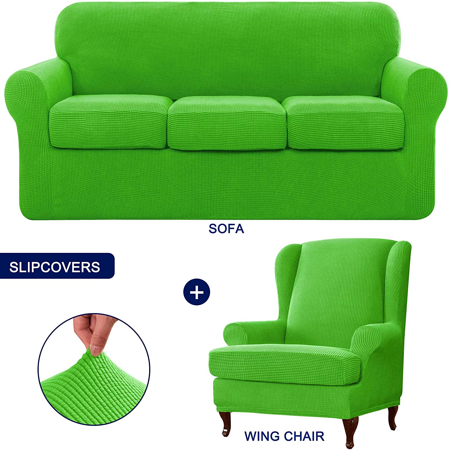 subrtex 4 Piece Sofa Slipcover Bundles Wingback Chair Slipcover Stretch Furniture Protective Cover with Washable Soft Fabric