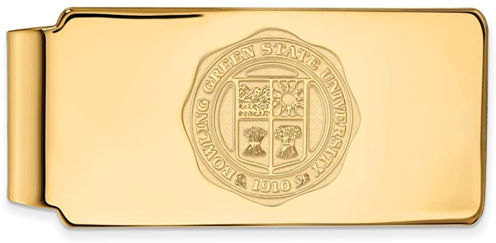 925 Sterling Silver Yellow Gold-Plated Official Bowling Green State University Slim Business Credit Card Holder Money Clip Cres - 53mm x 24mm